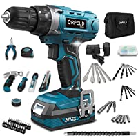 ORFELD Cordless Drill Driver Combo Kit 20V Max 165pcs Variety Accessories with Storage Case and Bag Excellent Craftmanship
