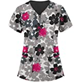 Women's Shirts and Blouse,Summer Loose Fit V Neck Short Sleeve Colorblock Pocket Tops Casual Basic Yoga Workout Tunic