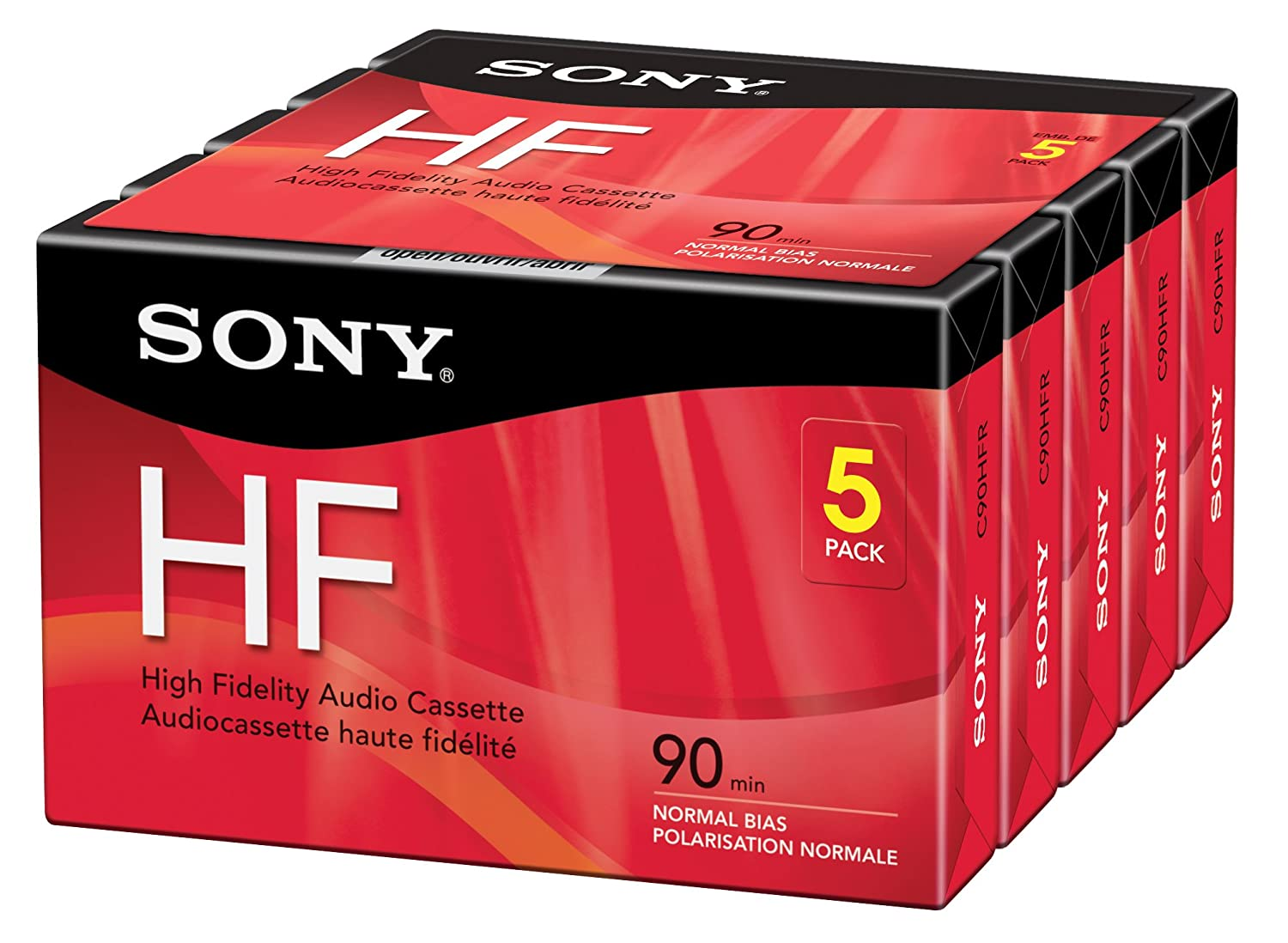 Sony 5C90HFR 90-Minute HF Cassette Recorders 5-Brick Sony Consumer Tape Accessory Consumer Accessories