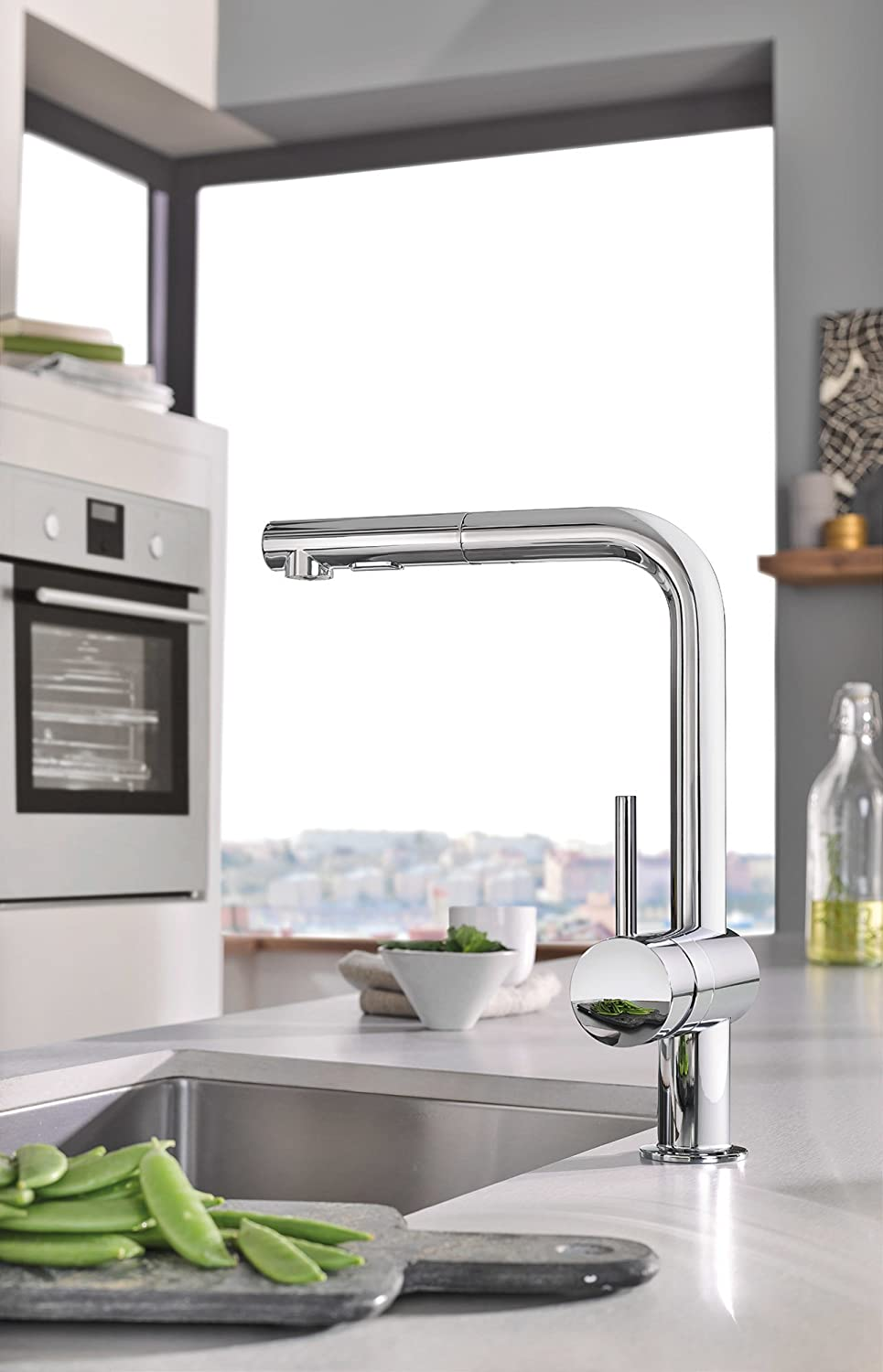 GROHE DC Minta PullOut Kitchen Faucet Super Steel - Amazon grohe kitchen faucets