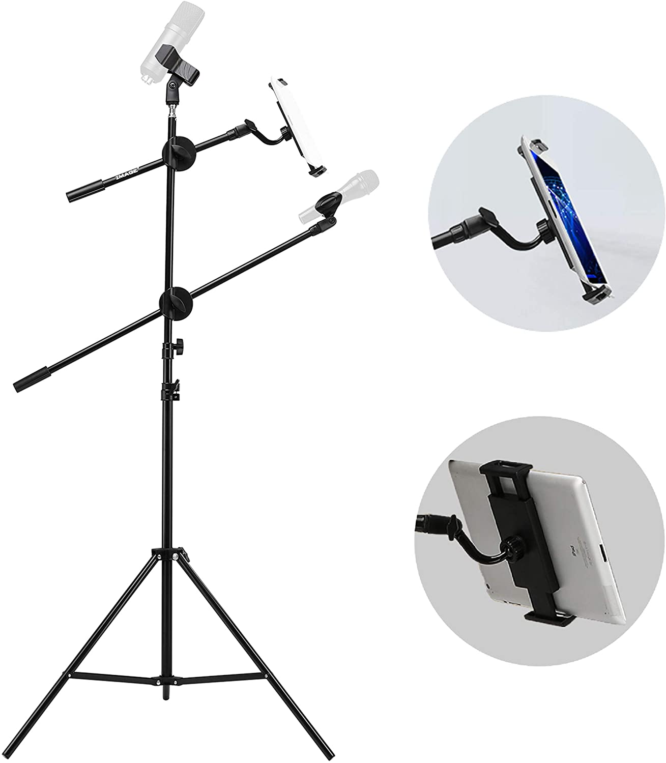 Tablet or Cellphone Microphone Stand Collapsible and Adjustable Height Heavy Metal Base for PC IMAGE Mic Stand with Mic Clip Holder