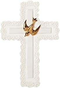 Traditional With Gold Tone Dove Ivory Lace Detail 4 x 7 Porcelain Wall Cross