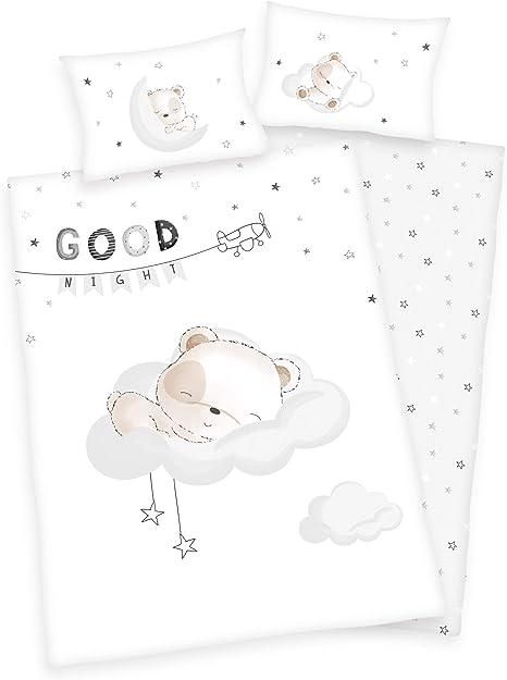3 piezas. Ropa de cama para bebé/niños, diseño: oso durmiendo, renforcé, 100 x 135 cm, 40 x 60 cm, 1 sábana bajera de 70 x 140 cm, 100% algodón: Amazon.es: Bebé