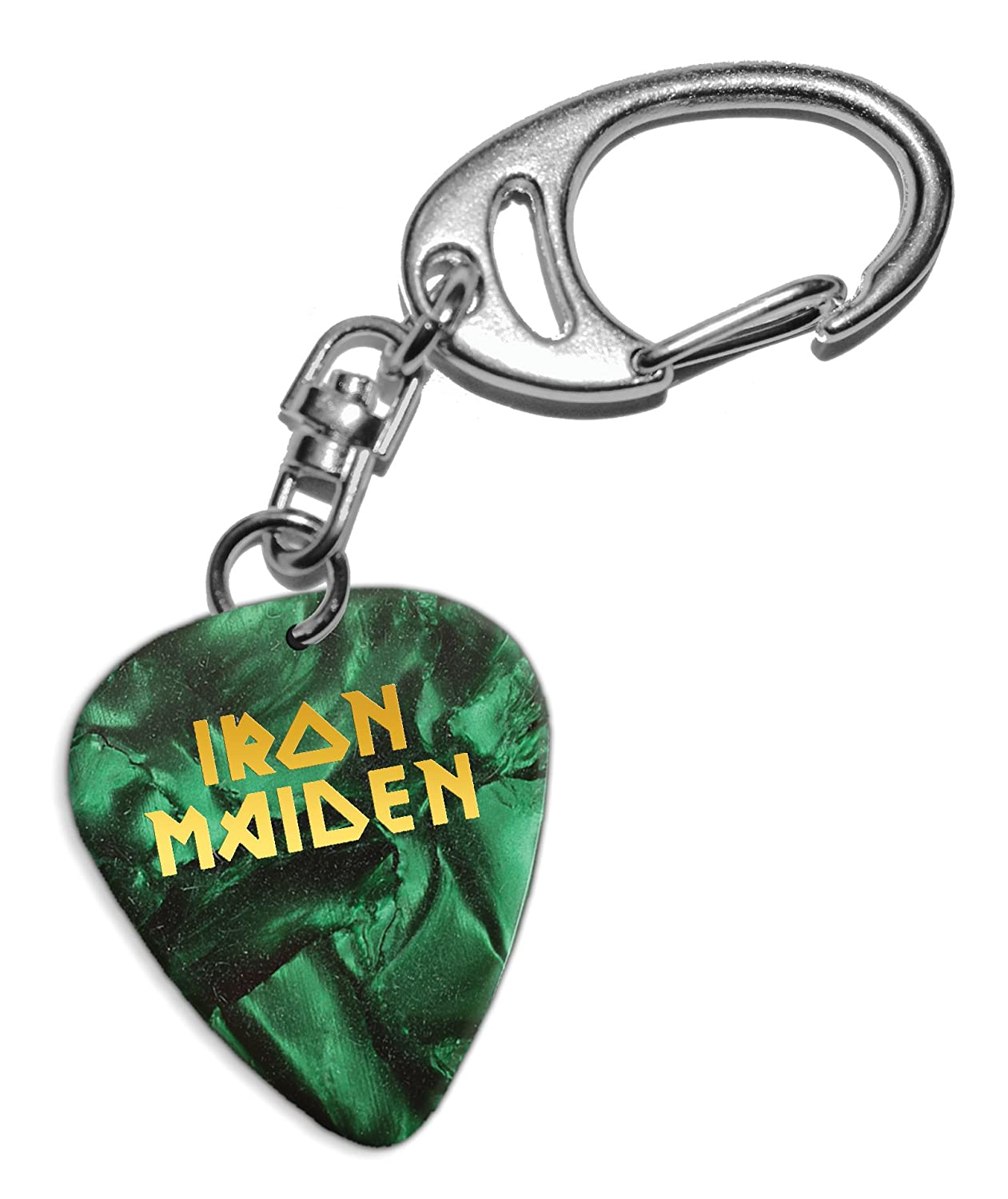 Iron Maiden Chitarra Plettro Portachiavi Keyring Green Pearl ( GHF ) We Love Guitars