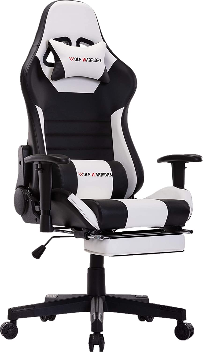 Black Gaming Chair Chaise Gaming Ergonomic Computer Game Chair with Footrest Reclining Racing Gaming Chair E-Sport Chair with Lumbar Support