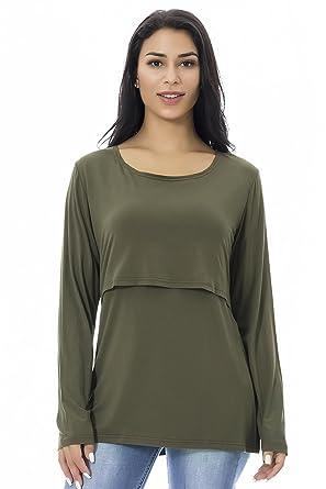 6abbf6b1acc Smallshow Nursing Tops Women's Maternity Long Sleeve Breastfeeding Shirts,Army  Green,S. Roll over image to ...