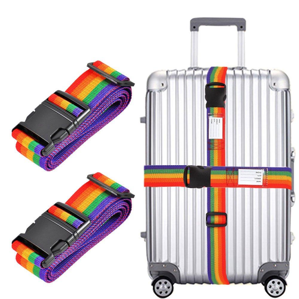Lot de 2 sangles réglables de 198,1cm de long - Sangle de sécurité pour valise, sac de voyage Couleur arc-en-ciel H.W.T