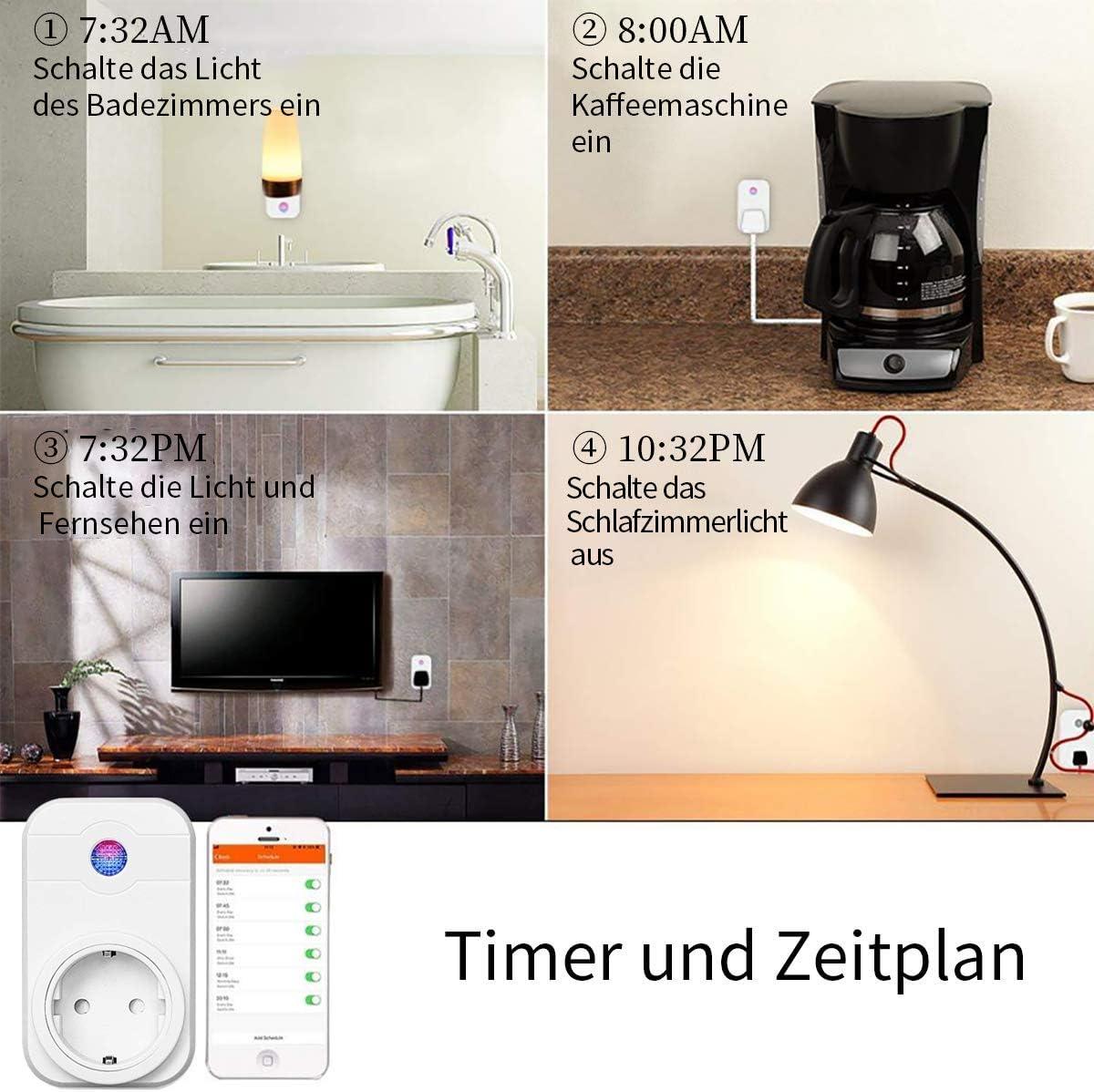 2 pack Google Home und IFTTT SIPAILING WLAN smart steckdose intelligente plug Kompatibel mit Alexa Kein Hub ben/ötigt Wifi Stecker fernbedienbar mit Timer Funktion App Steuerung