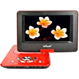 "ieGeek 12.5"" Portable DVD Player with Swivel Screen, 5 Hour Rechargeable Battery, Supports SD Card and USB, Direct Play in Formats MP4/AVI/RMVB/MP3/JPEG, Red"