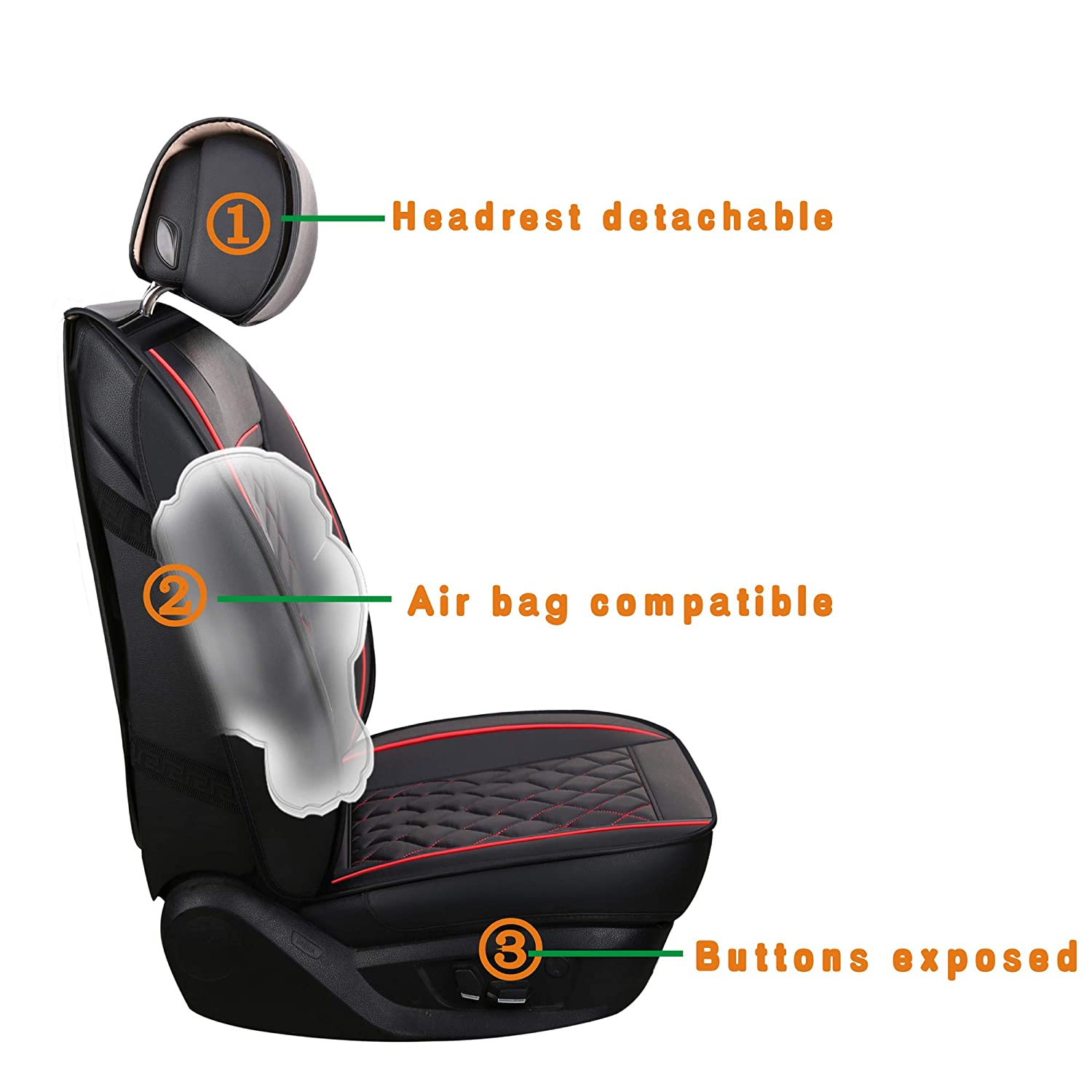 LUCKYMAN CLUB Rear Seat Covers Fit Most Sedan SUV Truck Rear Seat of Blk+Red Fit for Chevy Hyundai Toyota Kia Nissan Vw Honda Mazda