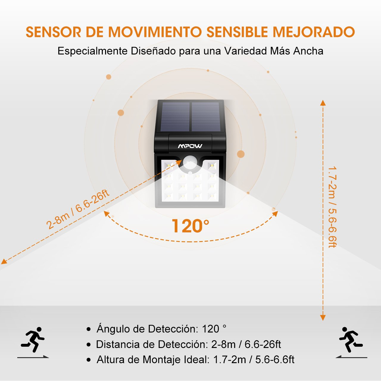 Mpow 14 LED Luz Solar Plegable, Sensor de Movimiento de 120°, Luz Exterior Portátil, Luz de Exterior Brillante, Fácil de Llevar para Jardín, Calzada, ...