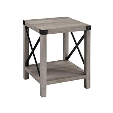 WE Furniture AZF18MXSTGW Square Farmhouse Side End Table with Storage for Living Room, 18 , Grey Wash