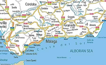 España carreteras mapa – Vinilo – A1 tamaño 59,4 x 84,1 cm