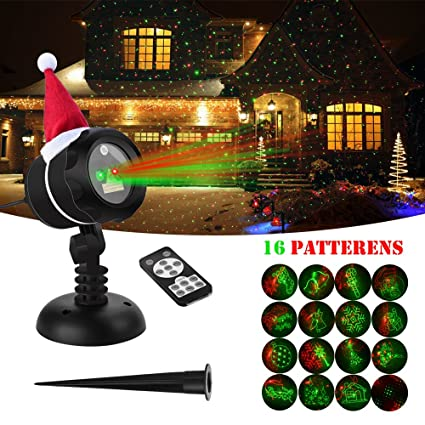 verkb outdoor laser lights red green 16 light patterns wireless remote control waterproof projector