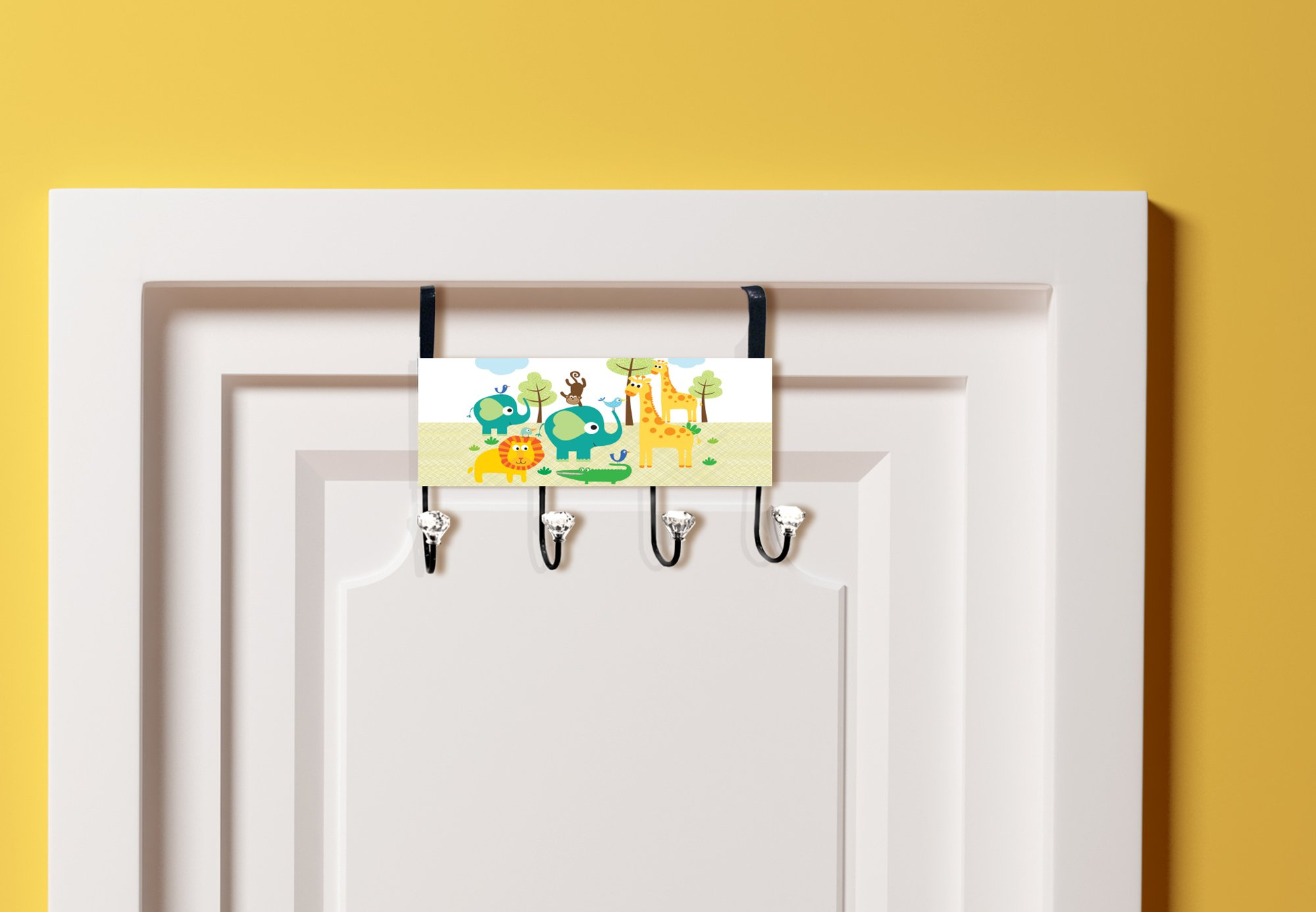 Stupell Home Décor Safari Animals Over The Door Hanger, 12 x 10.5 x 2, Proudly Made in USA by The Kids Room by Stupell