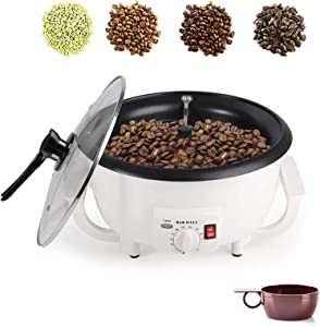 Coffee Roaster, 110V 1200W Coffee Roaster Machine, 750g Non-Stick Electric Nut Peanut Cashew Chestnuts Coffee Bean Roasting Machine for Home Use (Upgrade Without Timer)