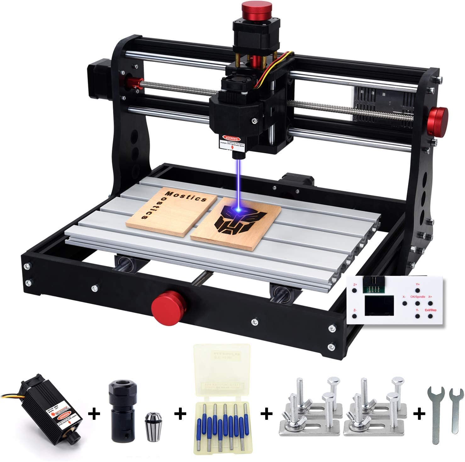 Mostics 2 en 1 CNC 3018 Pro con módulo de potencia de 5,5W-445nm, Máquina de grabado CNC con volante, Fresadora, Máquina de grabado CNC, 3 ejes para mecanizado de acrílico, PVC, madera,aluminio blando