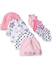 Gerber Baby Girls  9-Piece Cap and Mitten Bundle 910ed14c63b
