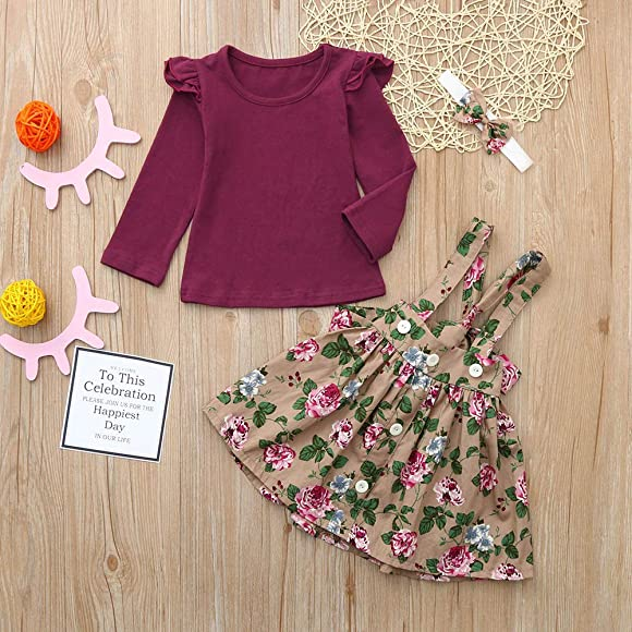 Keepfit Infant Baby Girls Cute Jumpsuit Romper+Rose Print Skirts+Headbands Outfits