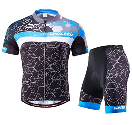 7c91c30db Amazon.com   sponeed Men Cycling Outfit Set MTB Bicycle Jersey Road ...