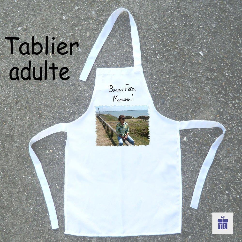 Texti-Cadeaux-Personnalisez un Tablier adulte avec Photo, dessin logo