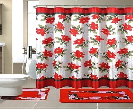 Seasons Greetings 15 Piece Shower Curtain Bath Set 1 Rug Contour Mat