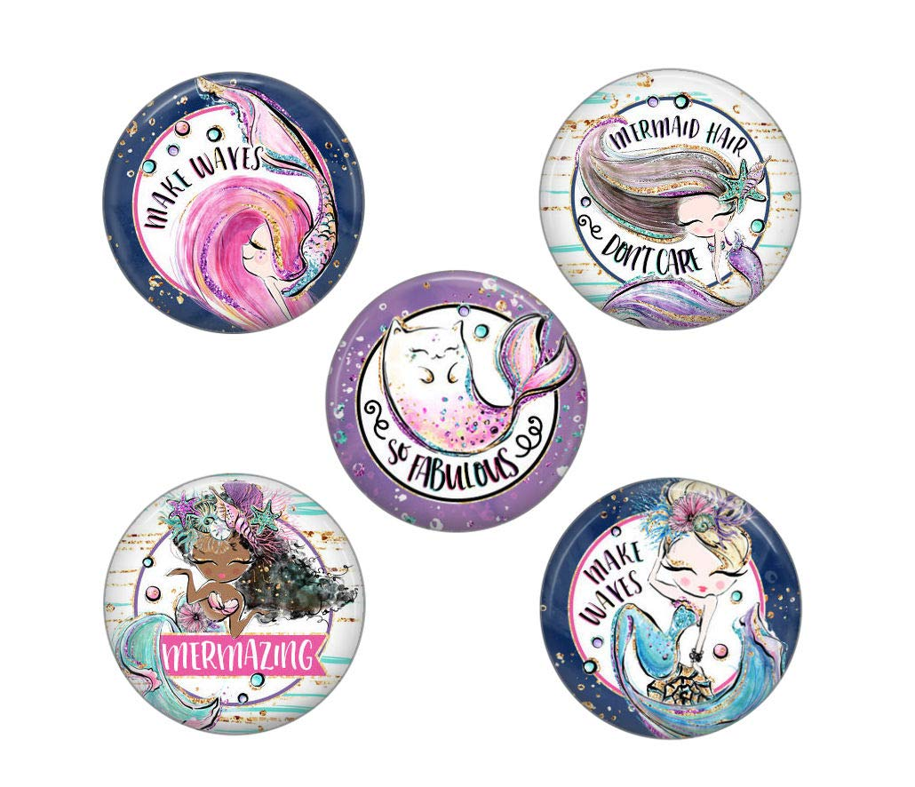 Cute Locker Magnets For Teens - Magical Mermaid Magnets - Fun School Supplies - Whiteboard Office or Fridge - Funny Magnet Gift Set (Mermaids)