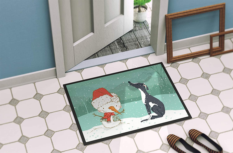 Multicolor Carolines Treasures Black Greyhound Snowman Christmas Door Mat