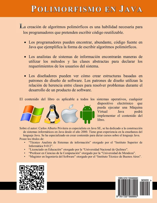 Polimorfismo en Java: Métodos y algoritmos polimórficos aplicados a los juegos de computadoras: Amazon.es: Carlos Alberto Privitera: Libros