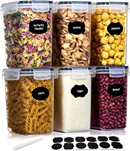 Airtight Food Storage Containers, Aitsite BPA-Free Kitchen Pantry Storage Containers, 6 Pack Dispenser Keepers(54.1oz), Great for Sugar, Flour and Baking Supplies - Dishwasher Safe
