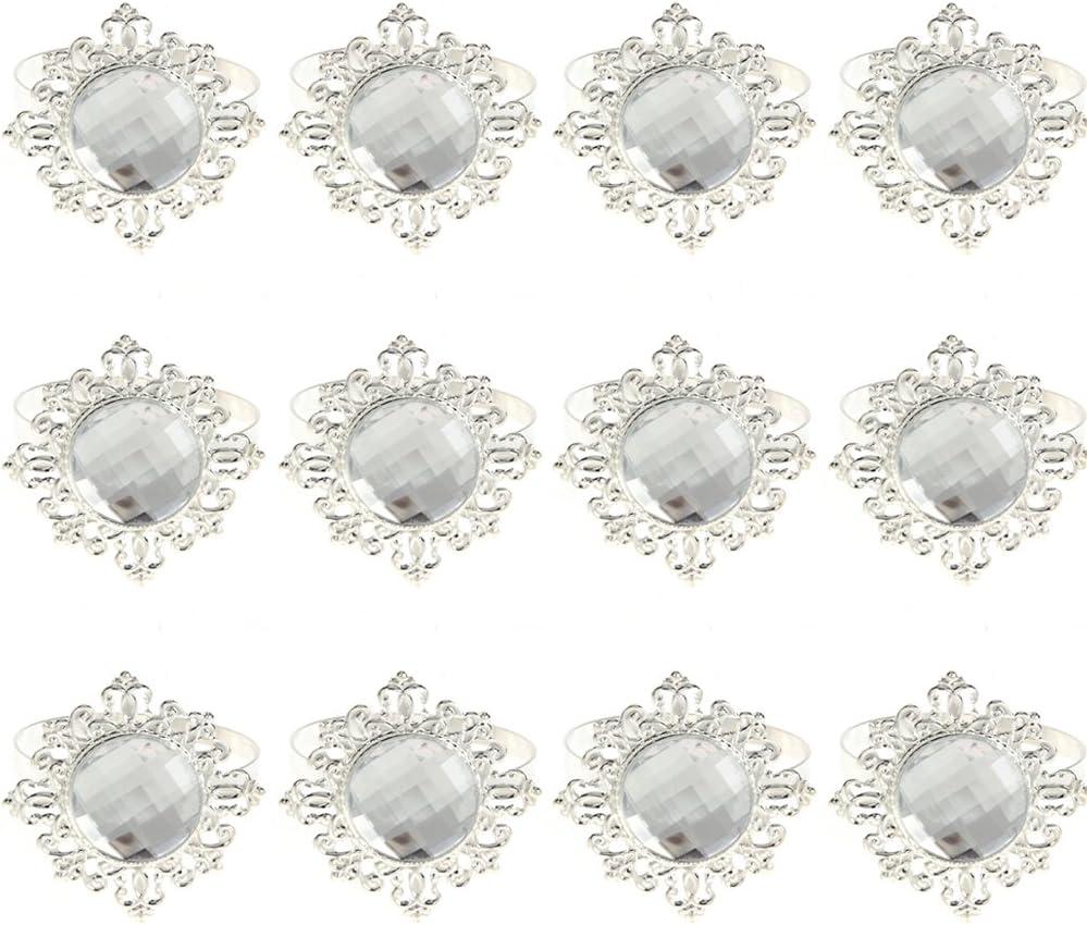argento Demiawaking 12pcs Anello di Tovagliolo di Disegno del Diamante Acrilico Decorazione della Portatovagliolo per Matrimonio//Nascita//Compleanno//Natale Festa