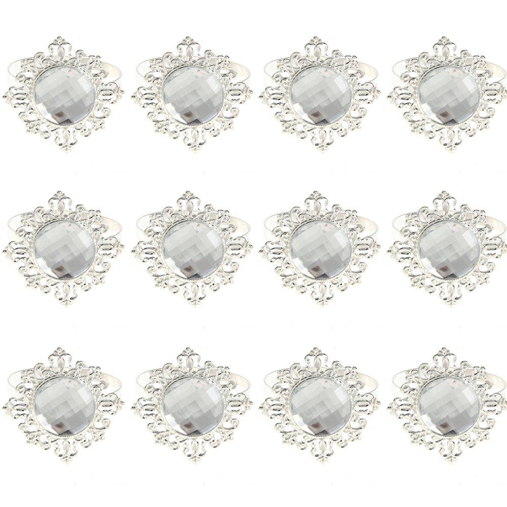 WinnerEco 12pcs Acrylic Diamond Design Napkin Ring Dinner Decoration (Silver)