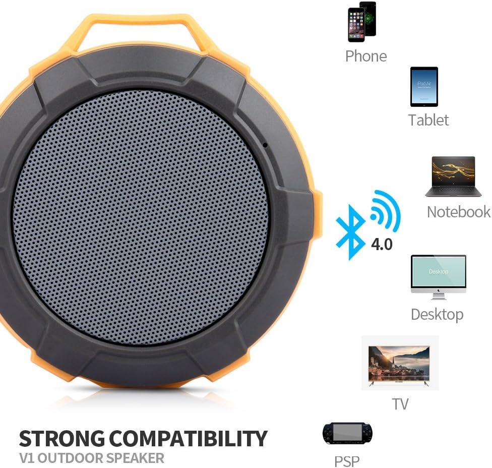 with 4W Drive Buit-in Mic,Orange Bluetooth Shower Speaker,Lerdy Mini Portable Waterproof Bluetooth Speaker Hands-Free Speakerphone