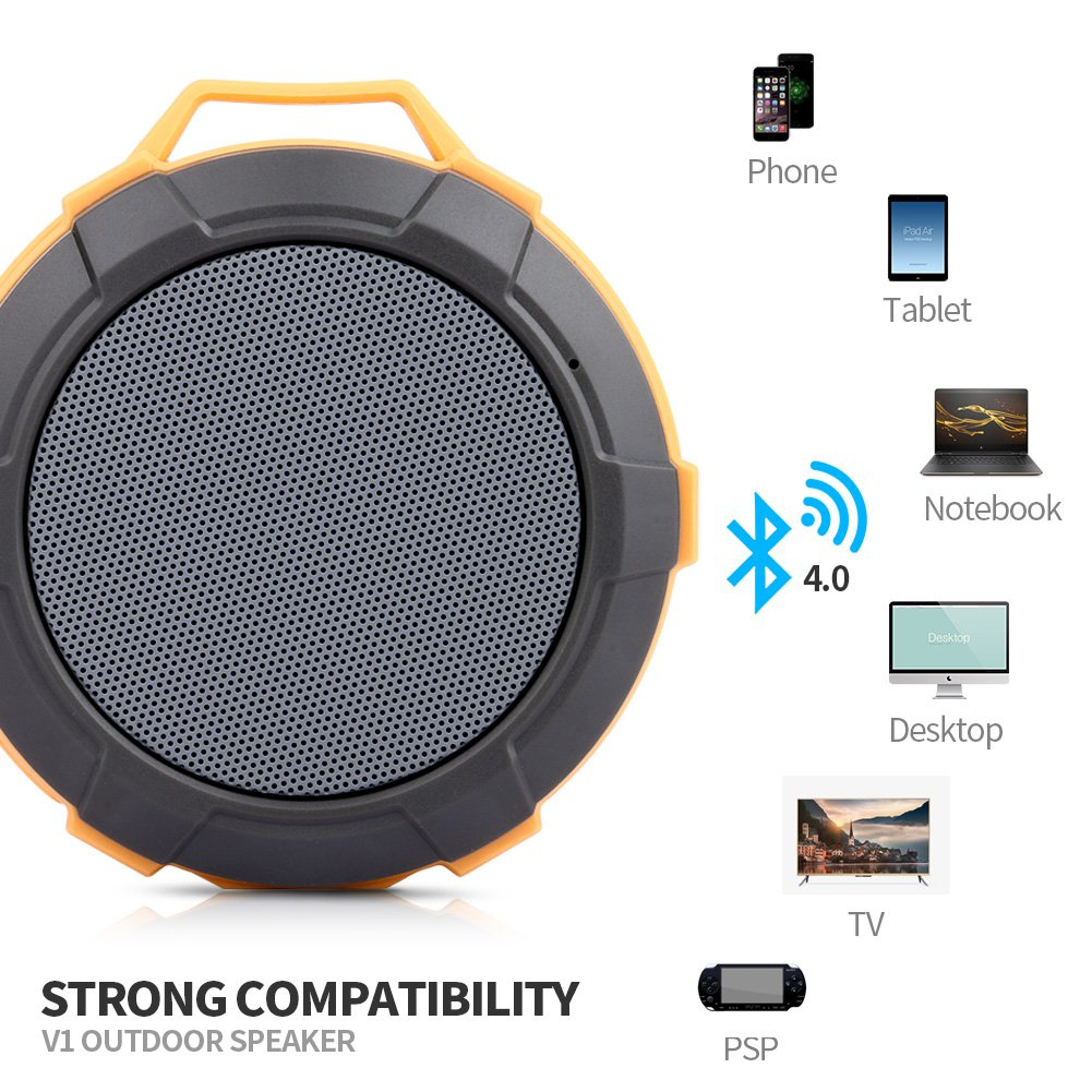 Bluetooth Speaker,Waterproof Shower Speaker,Hcman Super Portable Speaker with Micro SD Card Slot, Built-In Mic,Enhanced Bass, works with iPhone, iPad, Samsung, Nexus, HTC, Laptops (Orange)
