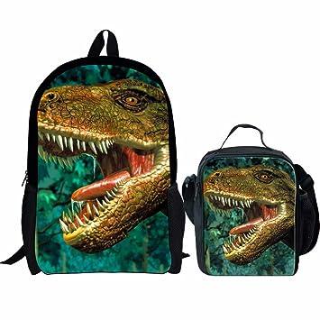 664b46a2822e Amazon.com  Sannovo 3D Dinosaur Children School Bags Large Animal Backpack  Picnic Lunchbox Kids 2 PCS  SANNOVO