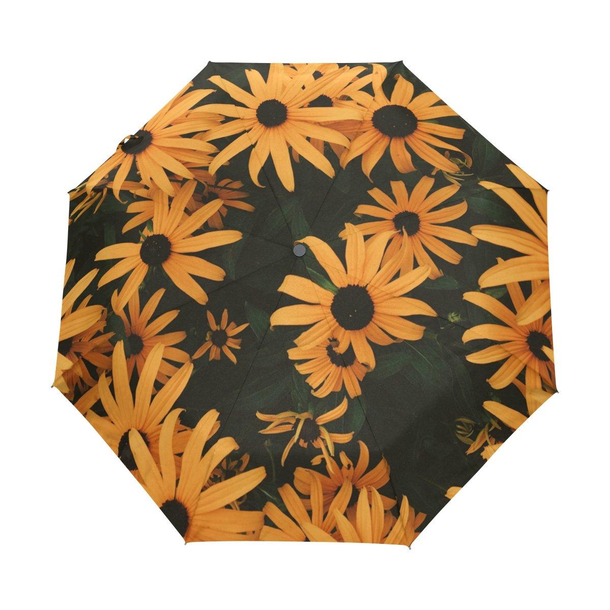 Senya Saobao防風と防雨トラベル傘ポータブル折りたたみ式で自動開いて閉じ折りたたみ明るいひまわり太陽雨傘 B07FP4KCJN