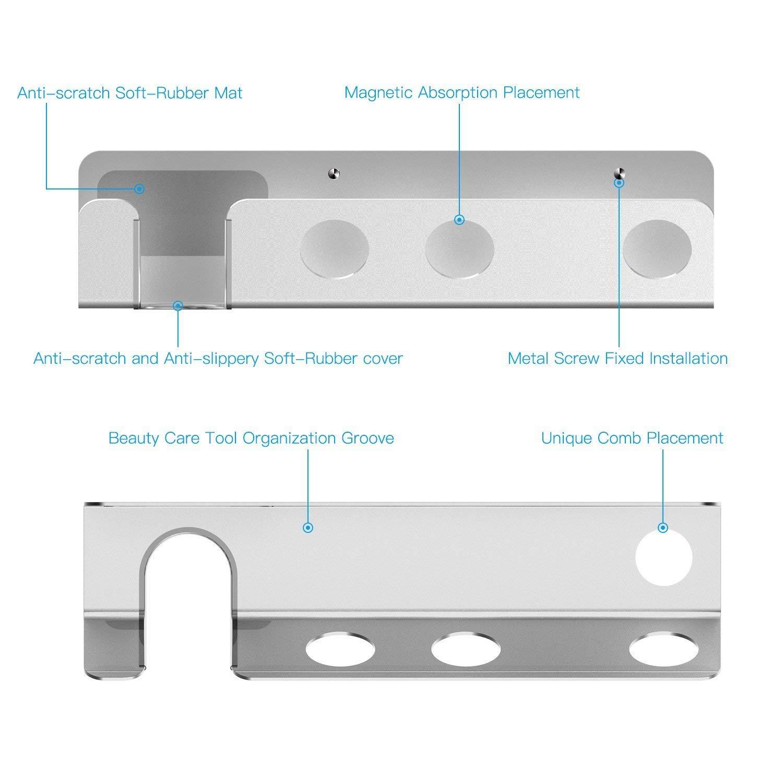 Dyson Hair Dryer Wall Mount Holder, Aluminum Alloy Wall Bracket Holder for Dyson Supersonic Hair Dryer sliver
