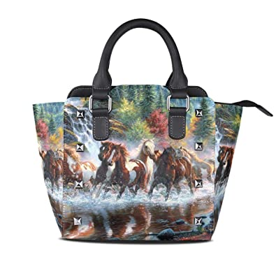 2ab07480797 Amazon.com: Ladies Genuine Leather Tote Bags Running Horses Womens ...