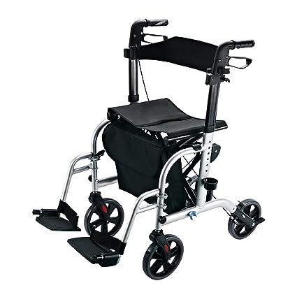 Homcom – transporte movilidad 2 en 1 aluminio senderismo andador para una silla de ruedas con