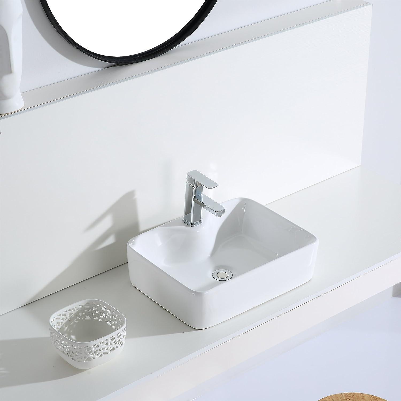Eridanus Vasque /à Poser Rectangulaire Salle de Bain Lavabo en C/éramique Lave-Mains Toilettes L48*L37*H13,5cm S/érie Rufus-02