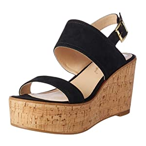 Nancy Jayjii Women Cork Wedge Sandals Open Toe Platform Slingback Suede Leather Shoes Black 5
