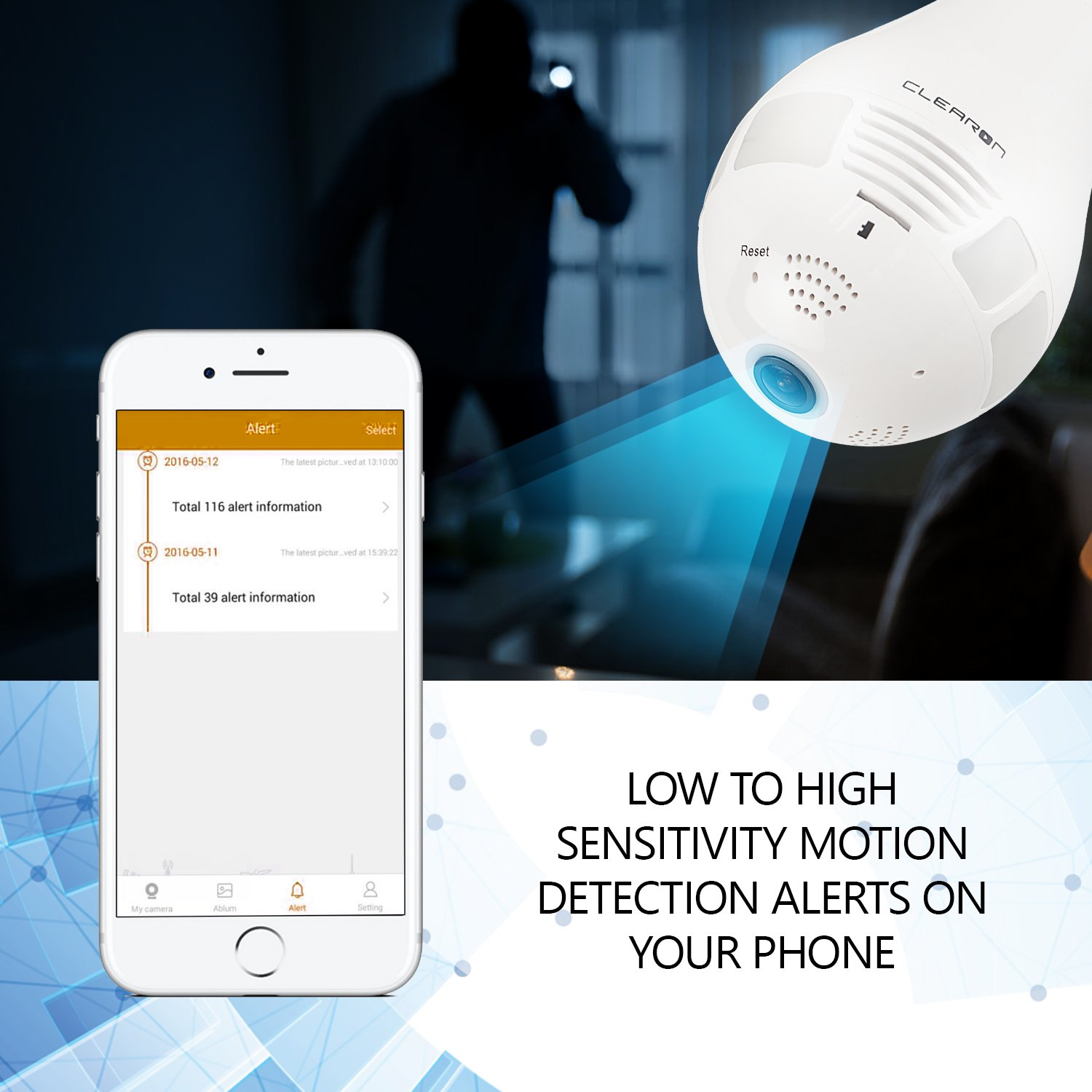 Clearon Wifi Light Bulb Camera - Night Vision CAM for Home Security - 360°  Panoramic Wireless Hidden Camera with LED White Lights and Infrared Lights