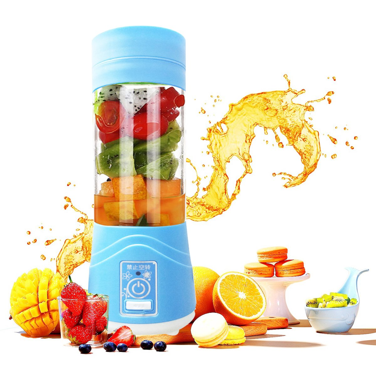 Lovep Portable Personal Blenders, Smoothie Blender USB Rechargeable Juicer Cup Household Fruit Mixer,Food Grade PC+Food Grade Rubber Seal with Powerful Motor, Water Bottle