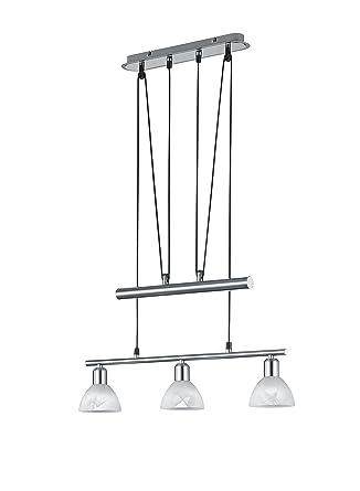 LED Strahler Spot LEVISTO Nickel matt Glas Alabaster Breite 55 cm