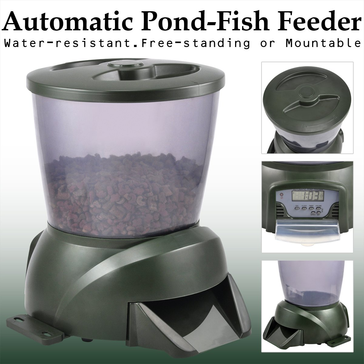 solar large led powered fish id feeder pond