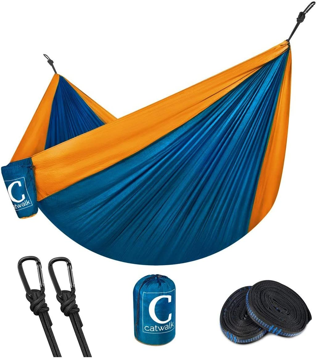 Coofel Camping Hammock, Portable Double Hammock Nylon Parachute Hammock for Travel Camping with Hammock Straps and Solid Steel Carabiners