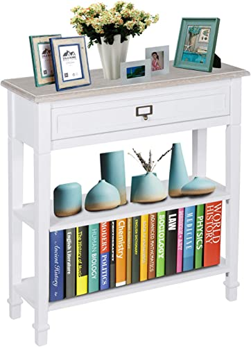 Kinbor Wood Console Table with Drawer and Shelf for Living Room Hallway Entryway