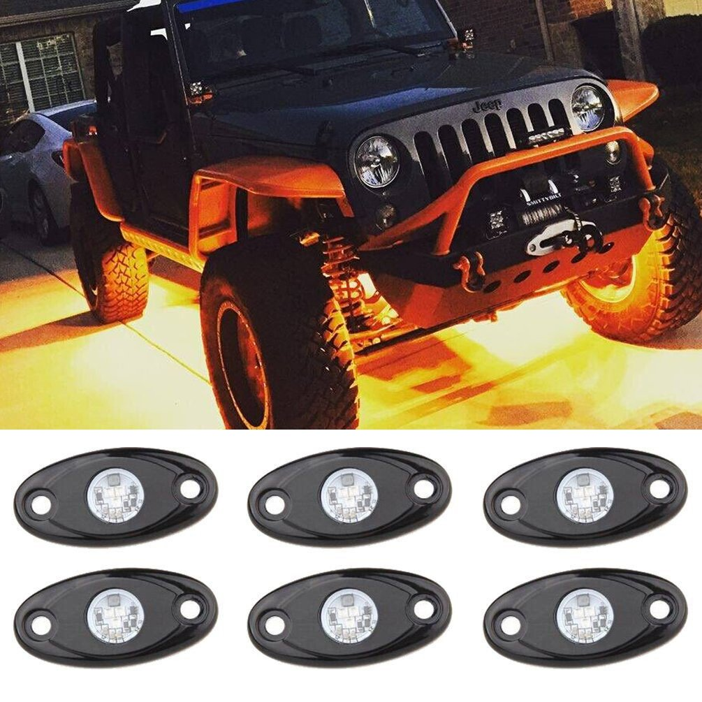 Amber Led Rock Light Kits With 6 Pods Lights For Jeep Red On Off Toggle Switch Car Truck Suv Road Atv Yellow Automotive