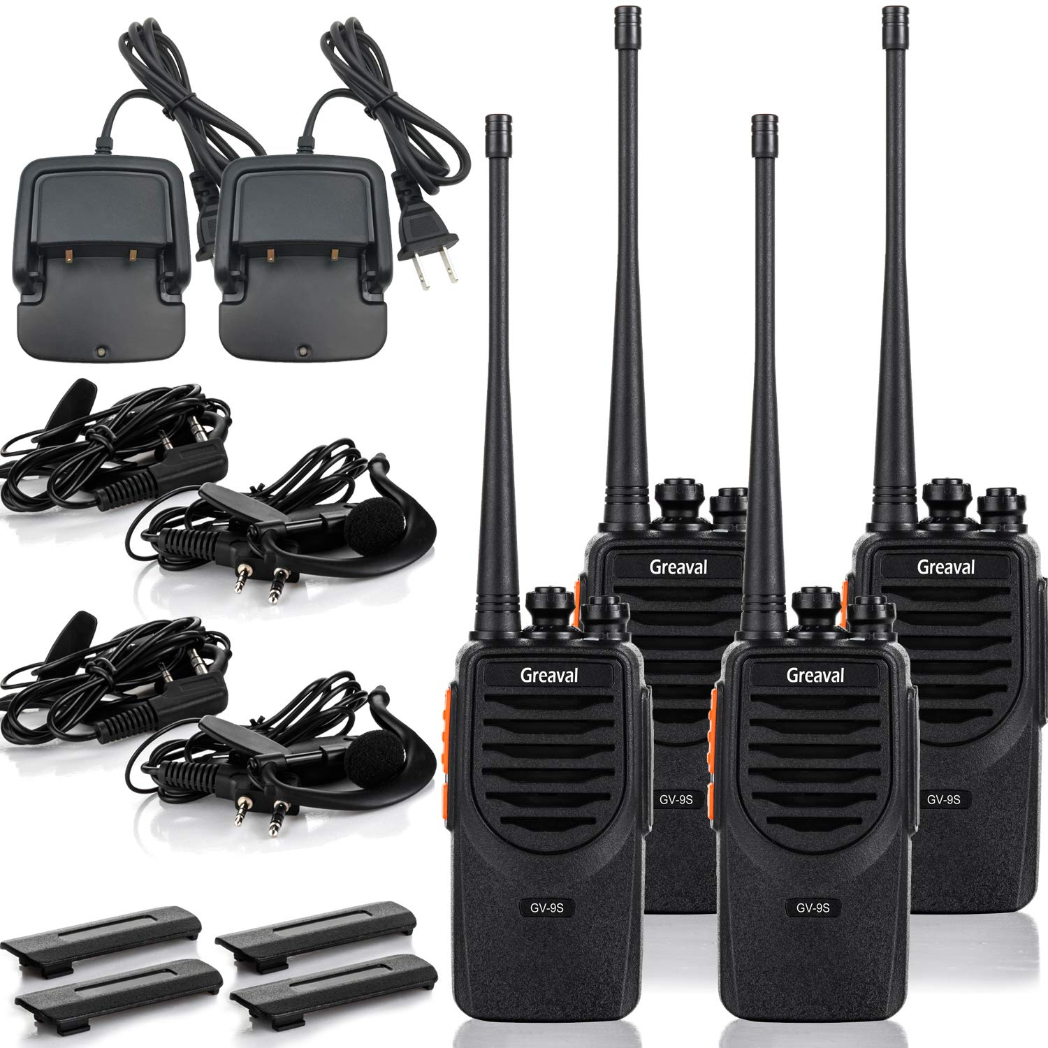 4Pack Desktop Charger Two-Way Radios UHF 400-470Mhz Earpiece USB Charing Greaval GV-9S Rechargeable 4 Pack Walkie Talkies for Adults Long Range with Li-ion Battery