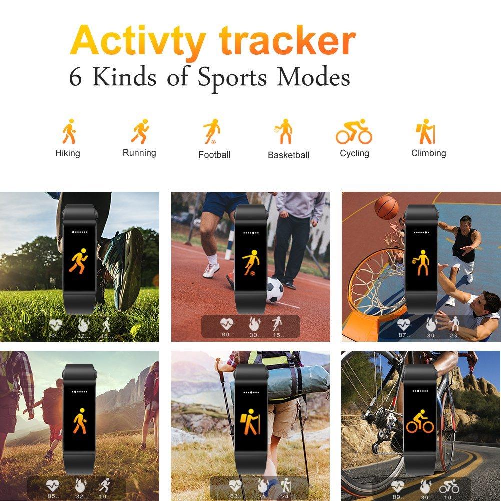 DWG diseño 2018 - Pulsera inteligente con monitor de actividad física, pantalla TFT de color de 2,43 cm (0,96 pulgadas), reloj con frecuencia cardíaca, ...